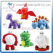 Wholesales 192 pcs Mini Qute BN cartoon baymax big hear 6 Jurassic Park dinosaur clay plasticine model kids DIY educational toy(China (Mainland))