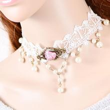 Pink Rose Faux Peral Tassel Lace Hollow Out Choker Necklace Wedding Fancy  Free Shipping(China (Mainland))