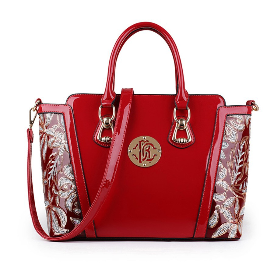 Patent-leather-Handbags-for-women-High-Quality-Sequin-Floral-red-blue ...