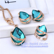 Free shipping New Fashion 18k Yellow Gold Filled resin Clear Austrian Crystal Necklace Earring Ring Wedding Jewelry Set(China (Mainland))