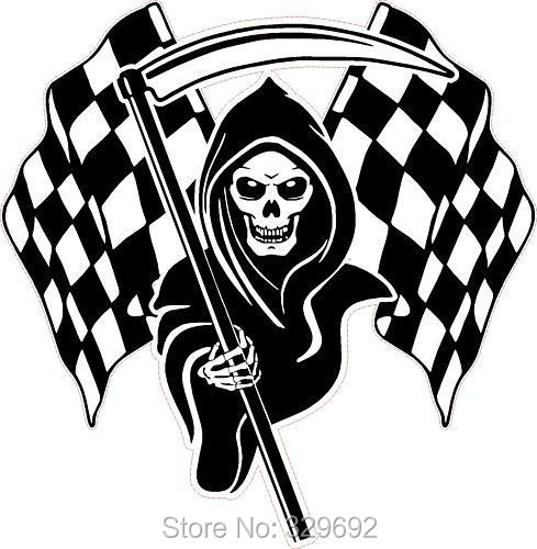 free shipping Racing Grim Reaper Skull font b Chequered b font Flags vinyl Wall Sticker Home
