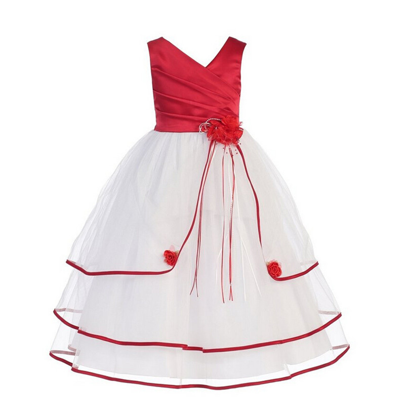 Hot Sale 2016 Girls Toddler Flower Tutu Layered Dress Baby Girl Christening Gowns Sleeveless Party Wedding Dress For Child 4-10Y(China (Mainland))