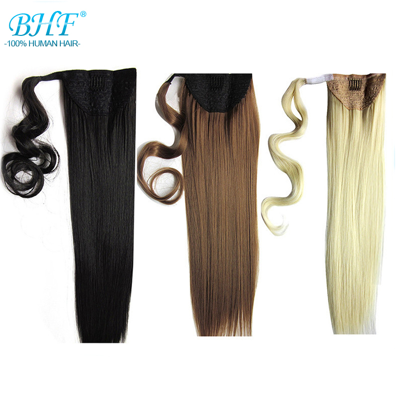 Pony tail For Russia Women Pure Color Ponytail Natural Hair Extensions Xu Chang BHF Hair Products Straight Human Hair(China (Mainland))