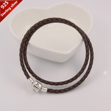 high quality cheap 925 sterling silver clip clasp necklace (brown 14-A) Genuine leather charms chain suitable for pandora beads(China (Mainland))