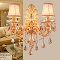 New luxury gold crystal wall light indoor wall lamp alloy crystal candle E14 double single head