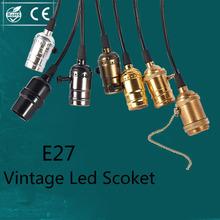 Antique Brass Industrial Plug In Pendant Light Bulb Socket Edison Bulb Led Holder Stringer E27 Antique Retro Light Socket Holder(China (Mainland))