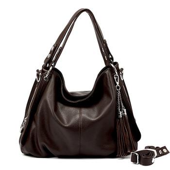 New hot sale brand female bags genuine leather tassel shoulder bag messenger bag women's handbag 4 colors solid Casual Tote