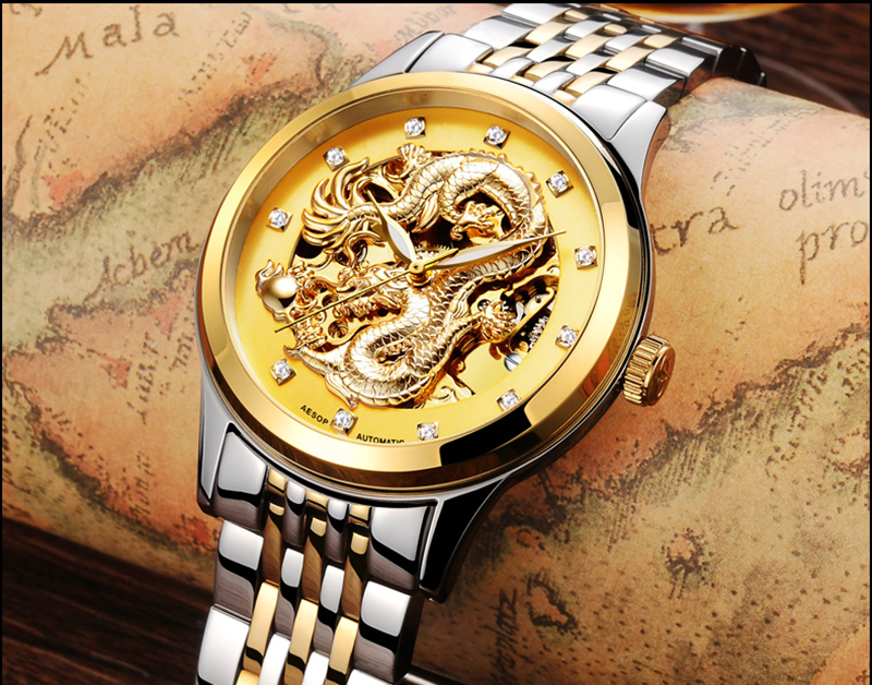 LuxuryAESOP gold  watch men skeleton Stainless steel Automatic mechanical Sapphire glass waterproof  watch<br><br>Aliexpress