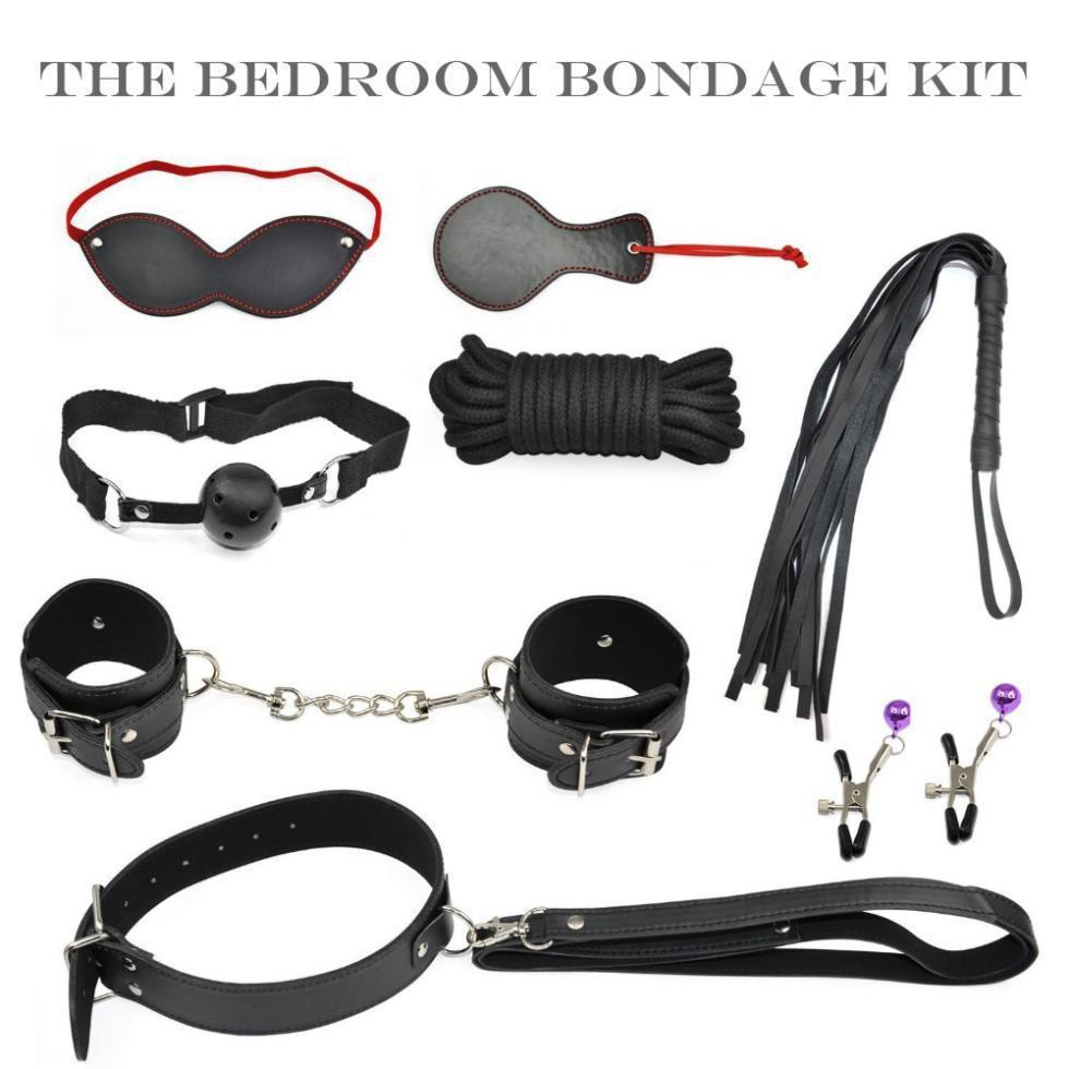 Easy fashion Sex Tools 8 Pieces kit,Black Leather Bedroom Restraint System, Bedroom Restraint Fun Adult Set,Sex Toy,Sex products(China (Mainland))