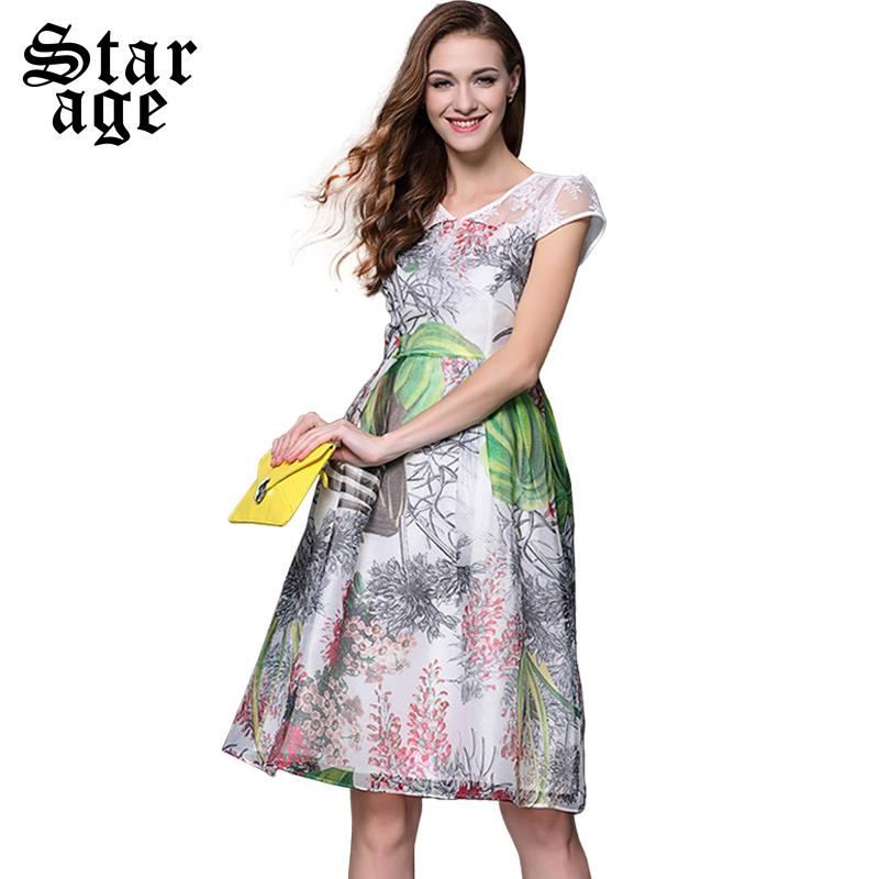 S-XL Brand Women Embroidery Long Flower Print Dress Summer Fashion Ladies Short Sleeve Mid-calf Length Casual A-Line Dress 8530(China (Mainland))