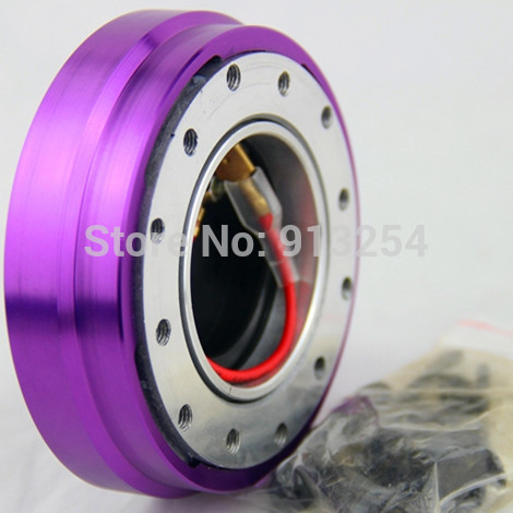 Free Shipping SPECIAL OFFER Slim Thin Version Steering Wheel Snap Off Quick Release with Button Purple(China (Mainland))