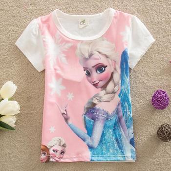 Новые 2015 новорожденных девочек летние топы дети футболки девушки тис с коротким рукавом эльза футболки одежды девочек одежда розовой рубашке T1005