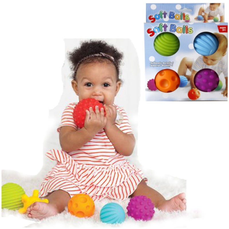 4Pcs/Set Baby Ball Toys Souding Colorful Multivariant Easy Grip Children Hand Caught Learning Grasping Children's Favor Gift(China (Mainland))