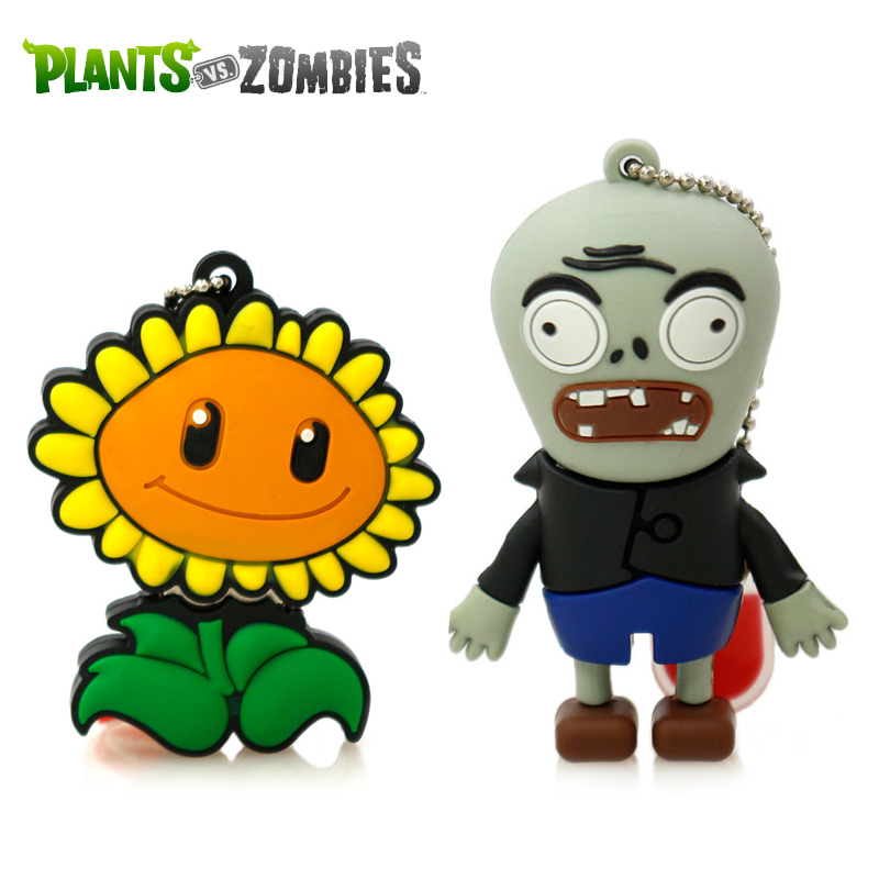 Garunk pendrive cartoon Plants VS Zombies 4G 8G 16G 32G sunflower USB2 usb flash drive memory Silicone Rubber Cute plant u disk(China (Mainland))