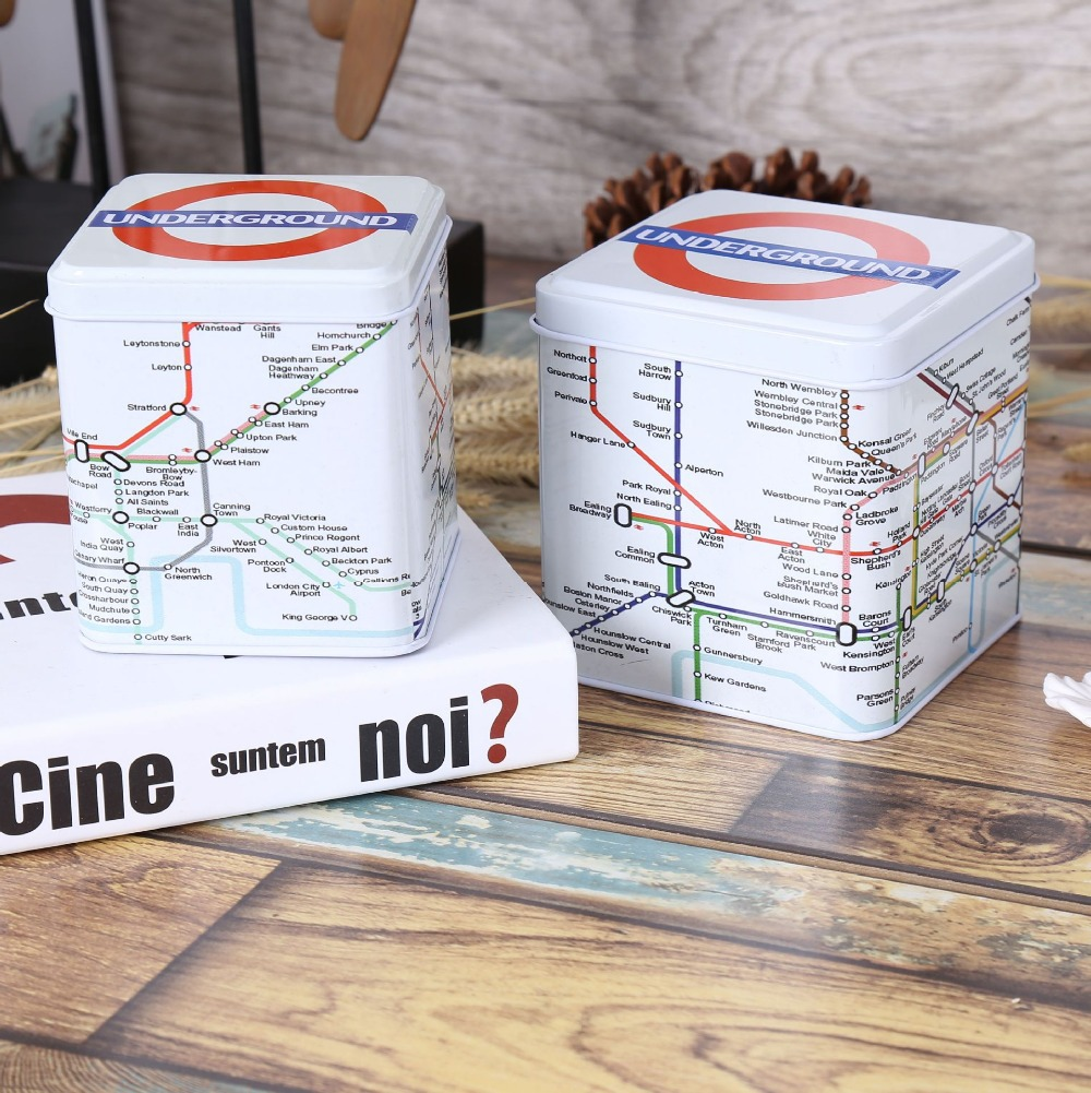Free Shipping! 2pcs/ot UK Style London Underground Tea Box Metal Storage Case Candy Can Home Decoration Gift Case(China (Mainland))