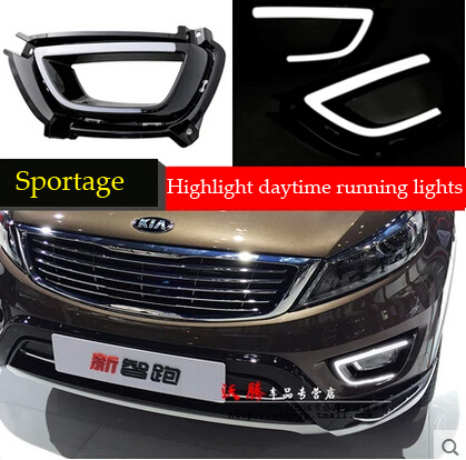 Free shipping 12V DRL LED Car light DRL Daytime Running Lights For Kia Sportage R 2015 with fog light Car styling 2pcs/set<br><br>Aliexpress