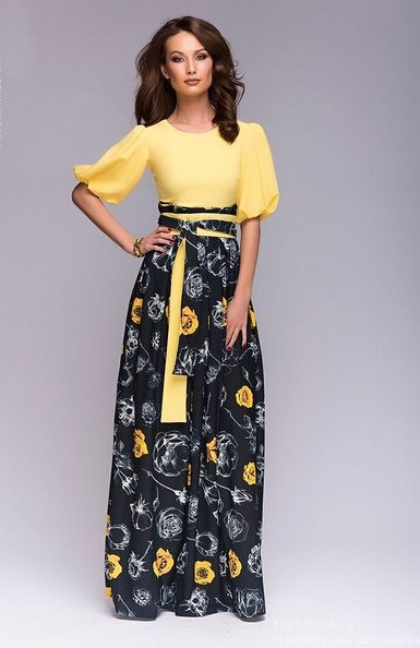2015 women's new flower printed chiffon long dress casual o-neck high waist summer style maxi dresses plus size women clothing(China (Mainland))