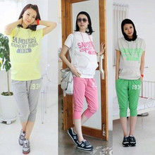 2016 summer maternity clothing casual sports set with a hood fashion print letter t-shirt seven +capris quality free shipping(China (Mainland))