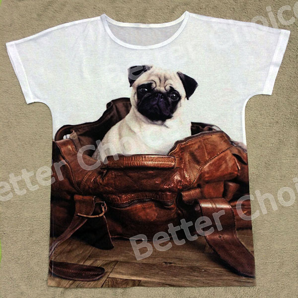 Track Ship+New Vintage Retro T-shirt Top Tee Cut Big Eyes Pug Dog Sitting in Pu Bag Gift House 0478(Hong Kong)