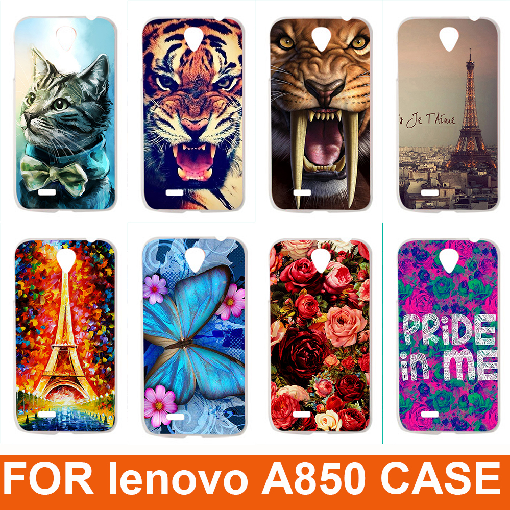 2015 Hot New 14 patterns Eiffiel Towel colored rose animals design Painting Hard Plastic Phone Case Cover For Lenovo A850(China (Mainland))