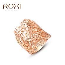 ROXI Brand Platinum/Rose Gold Plated Pierced Enamel Flower Ring Wedding Rings Big Rings For Women Fashions Jewelry SR0267