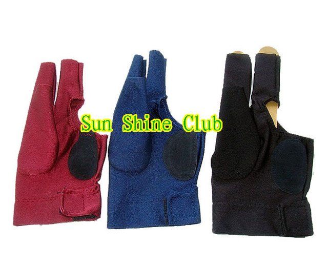 Free shipping 15pcs/lot high stretch 3 finger billiard gloves/Pool Table Snooker shooters billiard table 3 finger 9-ball Glove