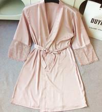 TAINY 2016 new arrival women lace sauna bath house bathing bathrobemini robes sexy nightwear thin section bathrobes(China (Mainland))