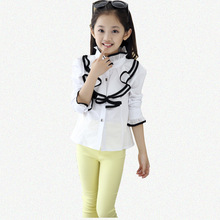 Kids White Polo Blouses & Shirts For Girls Cotton Casual Long Sleeve Roupa Infantil Rose Red(China (Mainland))