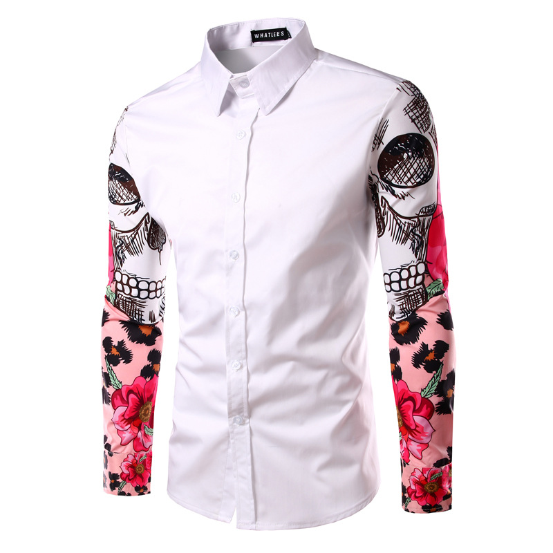 Foreign trade new men 39 s arms stamp splicing long sleeved for Shirts for men with long arms
