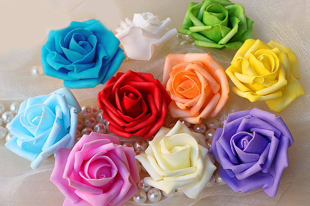 Colorful Artificial Flower Rose For Wedding Decoration EVA Foam DIY Home Decoration Simulation RoseHead Free Shipping(China (Mainland))