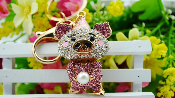 FREE SHIPPING by FEDEX 50pcs/lot Bag Accessory Lovely Pig Jewelry KeyChain Pendant Rhinestone Crystals key chain keyring(China (Mainland))