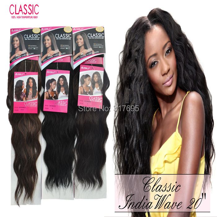 """Гаджет  Premium Quality Noble Classic Indian Wave Synthetic Hair Extensions Nautral Wave Machine Hair Weaving  16"""" 18"""" 20"""" Color SP218 None Волосы и аксессуары"""