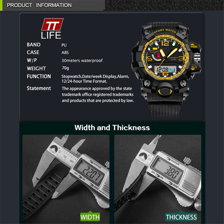 TTlife Brand Casual Outdoors Sport Wristwatch Men Watches Shockproof Men Luxury Analog Led Display Watch large dial watch 2016
