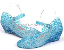 Vente chaude Elsa princesse reine Anna fantaisie Dress up Cosplay chaussures de gelée enfant fille cadeau de noël livraison gratuite(China (Mainland))