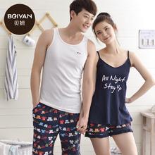 100% Cotton Lovers Sleepwear Pyjamas Women's Summer Pajamas Men Vest Shorts Ladies Couple lounge Pajama Sets(China (Mainland))