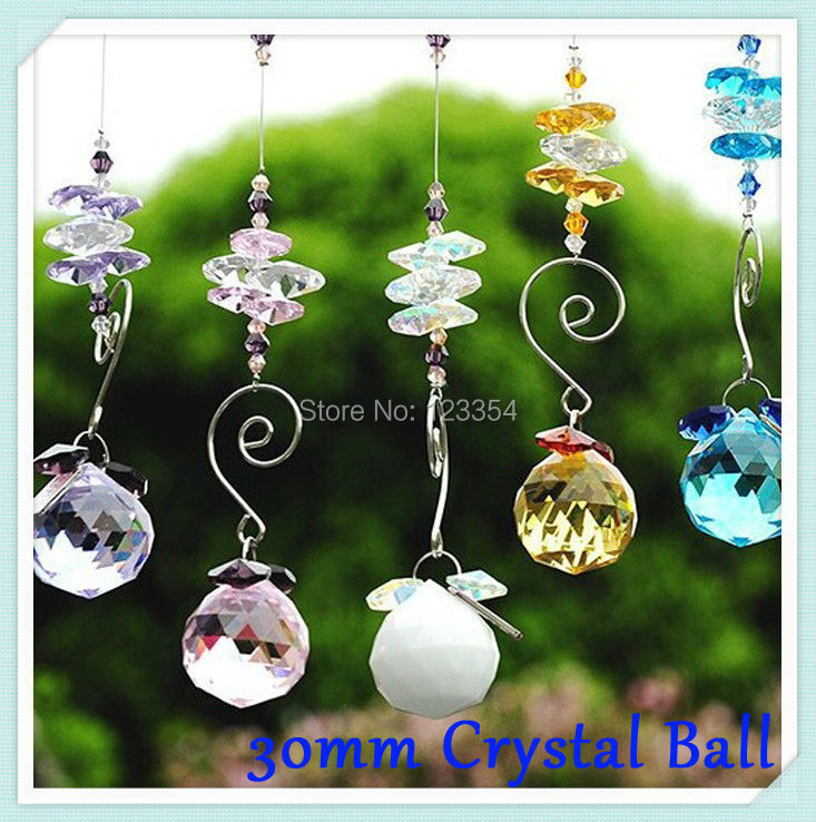 100pcs Colorful Crystal Chandelier Ball Chandelier Crystal Pendants Prism Ornament Hanging X-ams Tree Crystal Chandelier Parts(China (Mainland))
