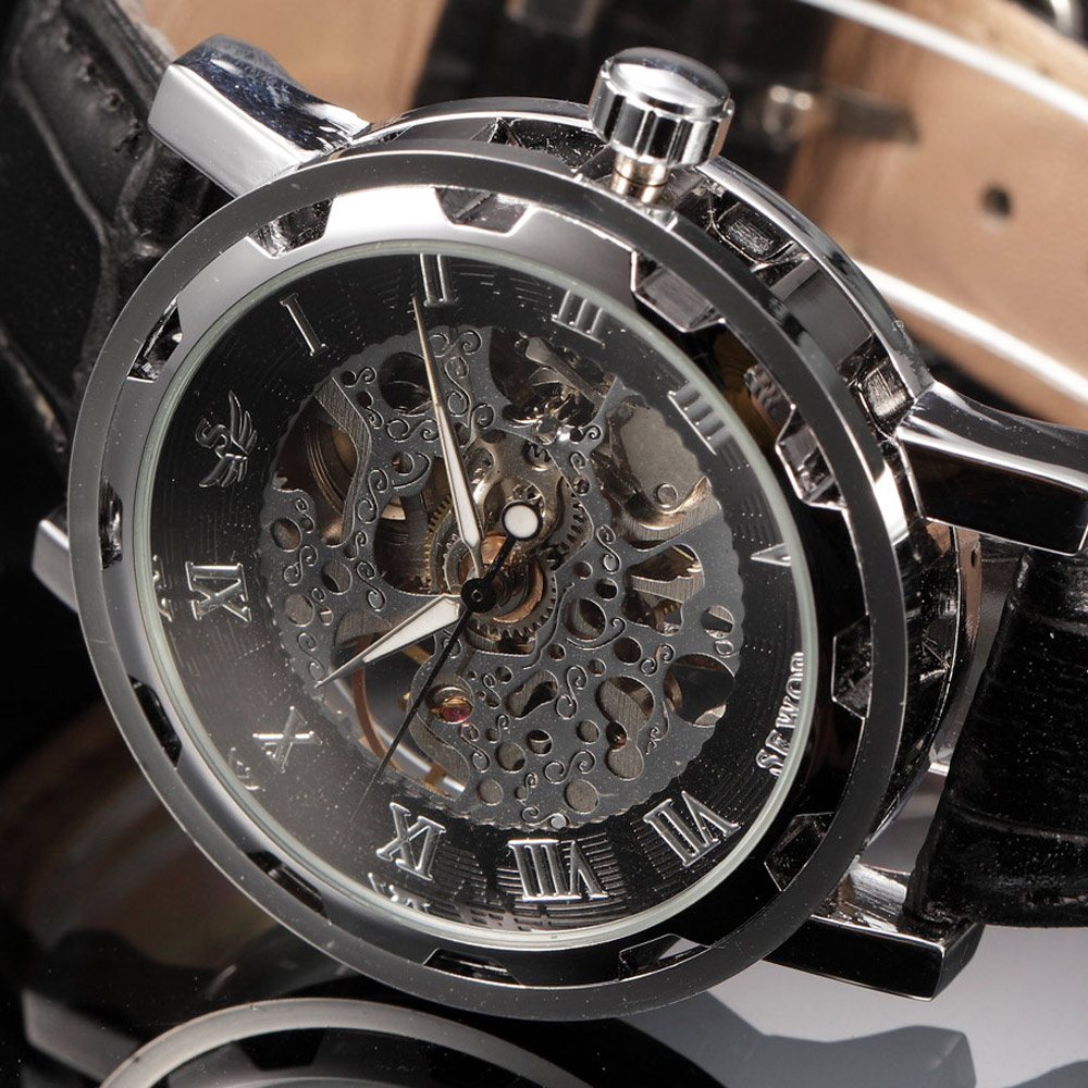 new 2015 fashion sewor skeleton men military business clock leather mechanical hand wind wrist dress luxury sport watch gift(China (Mainland))