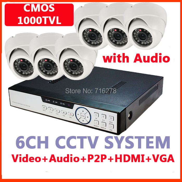 8CH Security Cameras system 1000TVL Camera Auido microphone Network 8 Channel HDMI 1080P 960H DVR KIT Recorder H.264 - Toppers store