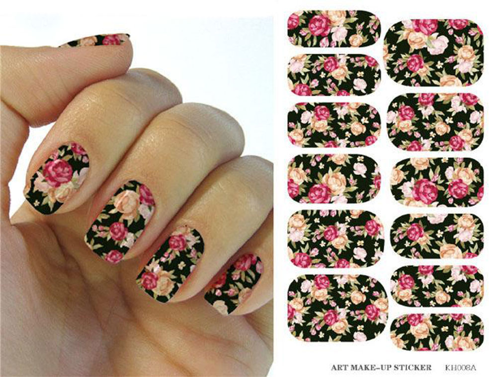 1 SHEET Vintage Mixed Print Nail Art Nail Sticker Harajuku Water Transfer Nail Sticks Decals Chic Beauty Decoration 1648731(China (Mainland))