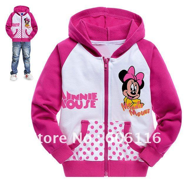 Free shipping fashion thin style girl minnie comfortable sweatshirt with cap for spring and autumn made of 100% cotton C699C6099(China (Mainland))