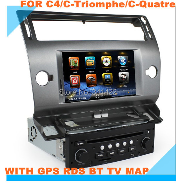 IN DASH DVD PLAYER FOR C4/C-Triomphe/C-Quatre gps rds Bluetooth radio touch screen steering wheel control canbus free map - Car Multimedia System store