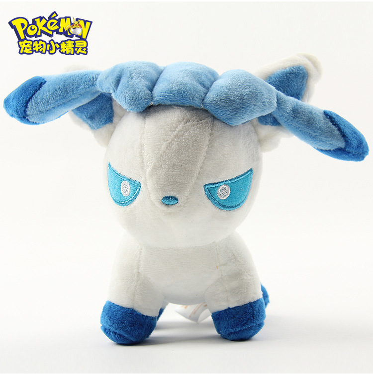 1pcs Pokemon Eevee Glacia Glaceon Givrali Glaziola Route 217 Q Edition 12cm Plush Toys Movie Soft Stuffed Animals Gifts(China (Mainland))