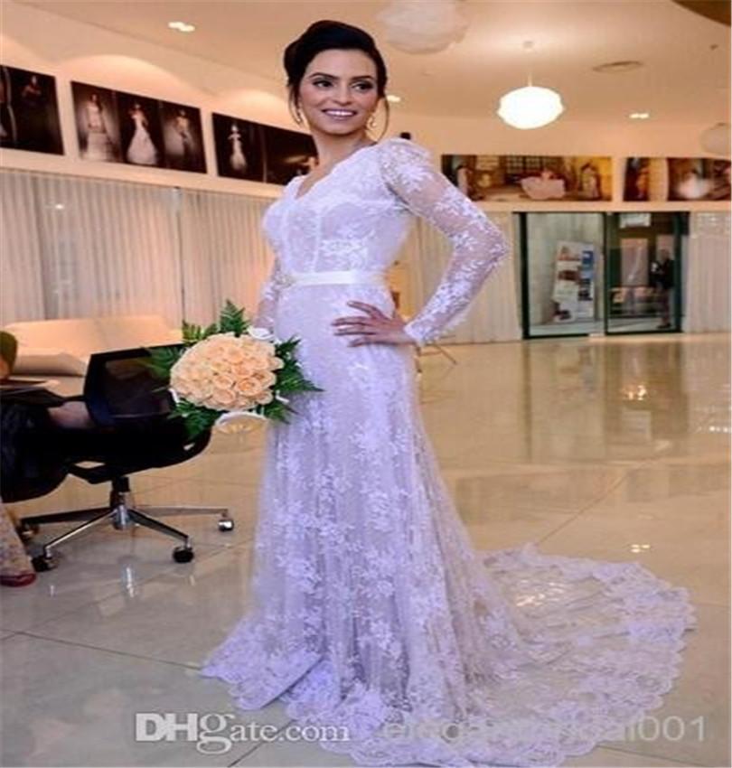 Bohemian Bridal Dress V Neck Fancy Lace Long Sleeve Boho Wedding Dress Customized Bride Dress(China (Mainland))