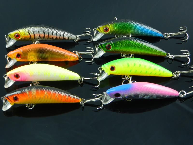 7cm 8g Minnow Fish with #6 Hooks Good Fish Bite Hard Plastic Lure Ocean Rock Fishing HJ02(China (Mainland))