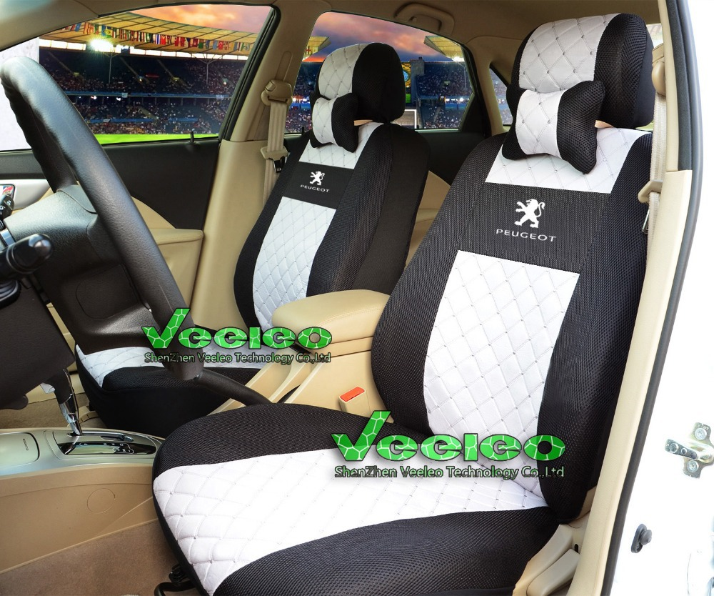 Logo+Universal Car Seat Cover For PEUGEOT 206 207 301 307 308 406 408 508 607 3008 With Silk Breathable Material+Free Shipping(China (Mainland))