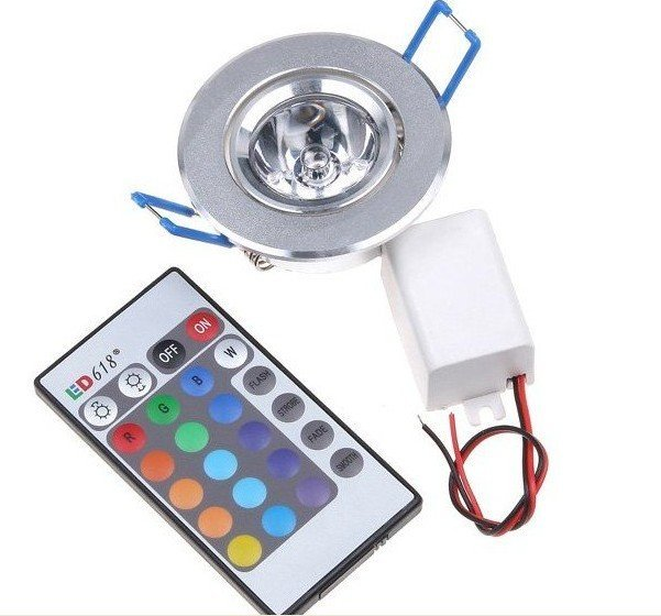 1*3W RGB led ceiling light,AC90-260V input,with IR remote