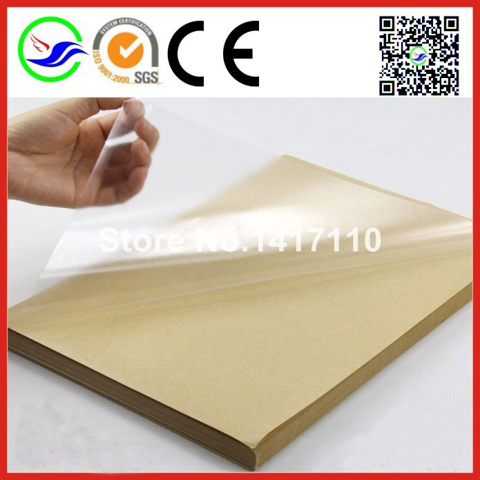 80 sheets A4 Self adhesive blank clear plastic PVC label sticker transparent PVC lamination film For Laser Printer Cover Paper(China (Mainland))