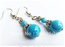 Wholesale  tibet silver Round blue Jade earring 20pc/lot fashion jewelry #013(China (Mainland))