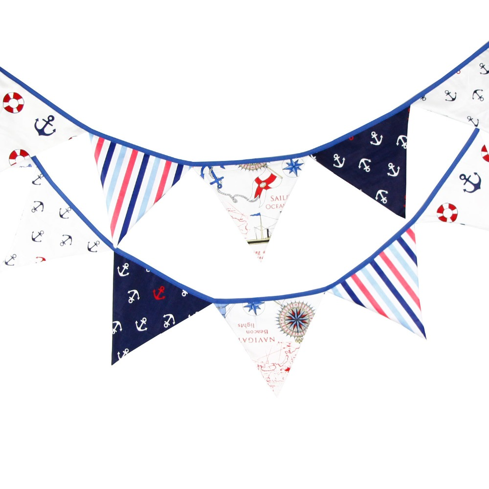 12 Flags 3.3m Pirate Theme Cotton Fabric Bunting Pennant Flag Banner Garland Wedding/Birthday/Baby Shower Party Decoration(China (Mainland))