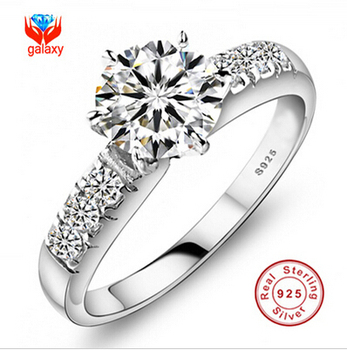 Have Certificate of Identify! 100% 925 Sterling Silver Wedding Rings For Women Luxury 0.75 Carat CZ Diamond Engagement Ring ZP68
